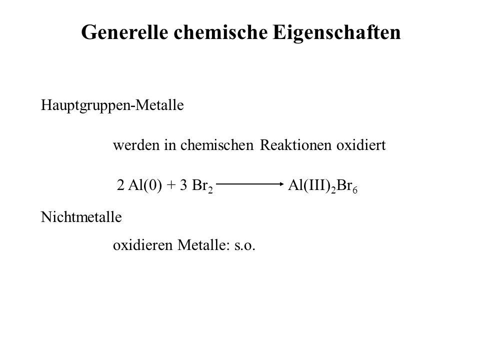 Generelle chemische Eigenschaften Hauptgruppen-Metalle werden in chemischen Reaktionen oxidiert 2 Al(0) + 3 Br 2 Al(III) 2 Br 6 Nichtmetalle oxidieren