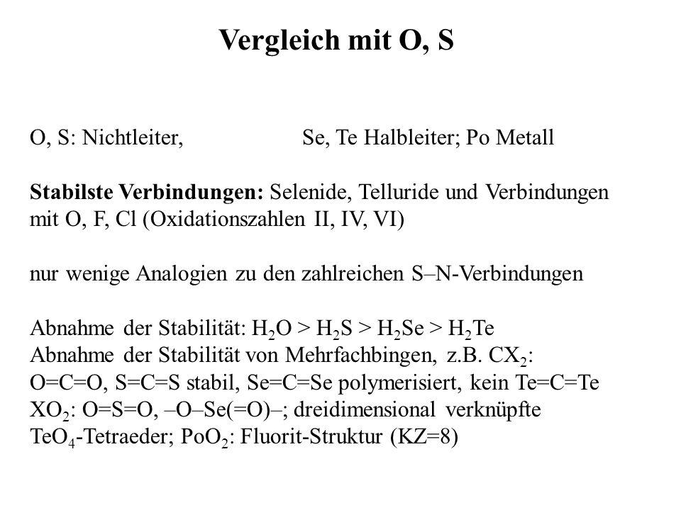 Vergleich mit O, S O, S: Nichtleiter, Se, Te Halbleiter; Po Metall Stabilste Verbindungen: Selenide, Telluride und Verbindungen mit O, F, Cl (Oxidatio