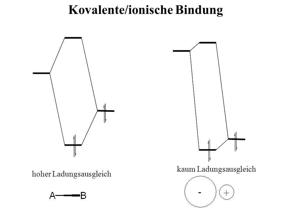 Kovalente/ionische Bindung kaum Ladungsausgleich hoher Ladungsausgleich