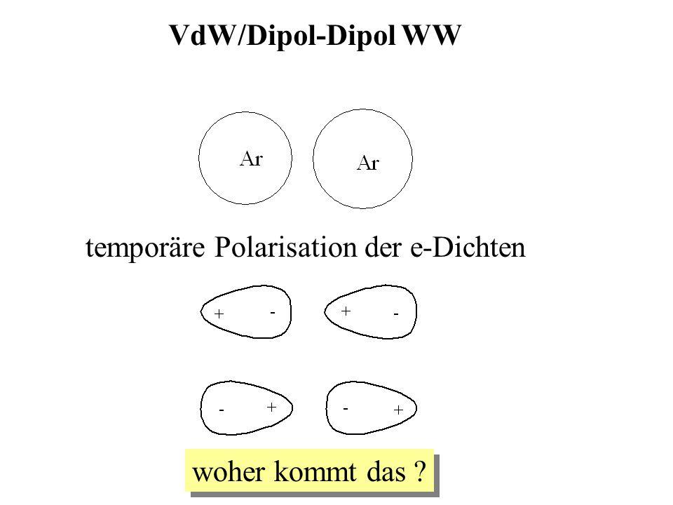 VdW/Dipol-Dipol WW temporäre Polarisation der e-Dichten woher kommt das ?
