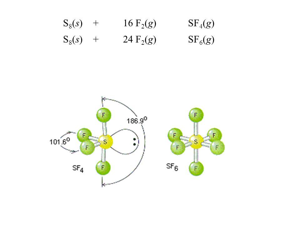 S 8 (s)+16 F 2 (g) SF 4 (g) S 8 (s)+24 F 2 (g) SF 6 (g)