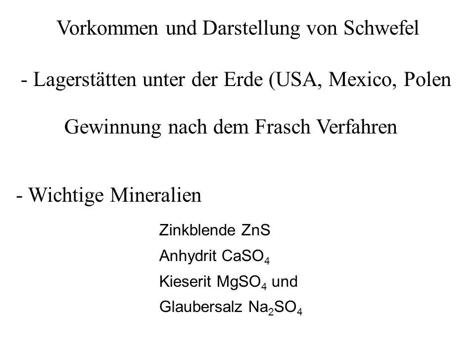 Vorkommen und Darstellung von Schwefel - Lagerstätten unter der Erde (USA, Mexico, Polen Gewinnung nach dem Frasch Verfahren Zinkblende ZnS Anhydrit C