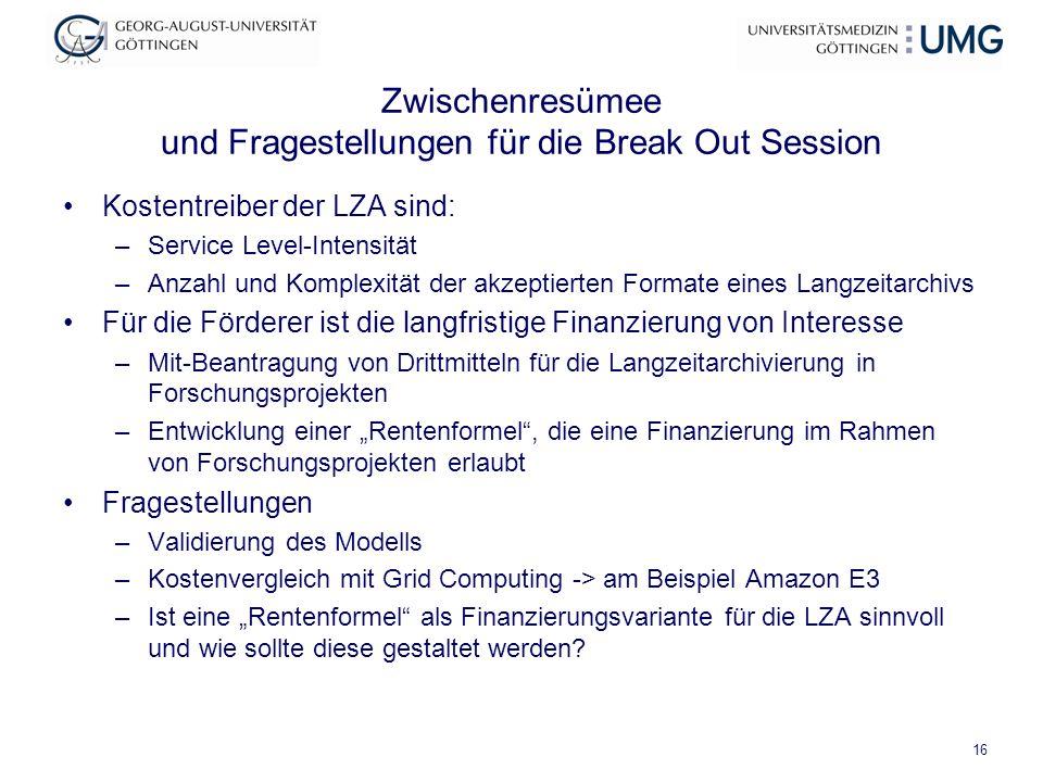 Zwischenresümee und Fragestellungen für die Break Out Session Kostentreiber der LZA sind: –Service Level-Intensität –Anzahl und Komplexität der akzept
