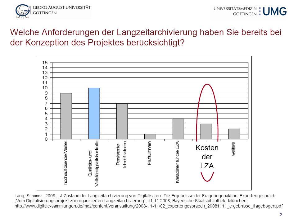 """2 Lang, Susanne. 2008. Ist-Zustand der Langzeitarchivierung von Digitalisaten: Die Ergebnisse der Fragebogenaktion. Expertengespräch """"Vom Digitalisier"""