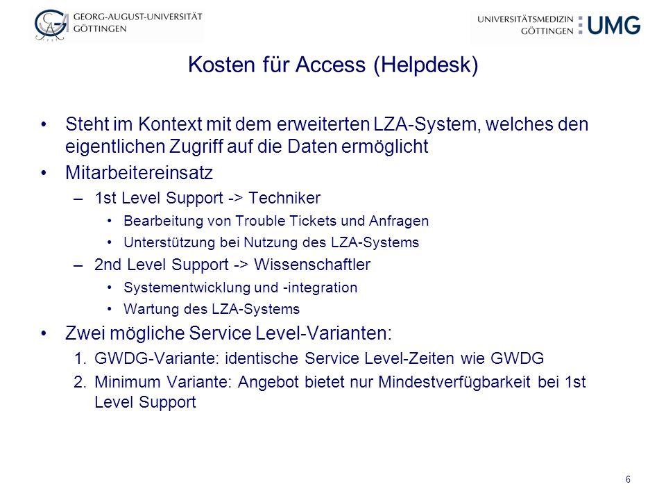 Kosten für Access (Helpdesk) Steht im Kontext mit dem erweiterten LZA-System, welches den eigentlichen Zugriff auf die Daten ermöglicht Mitarbeiterein