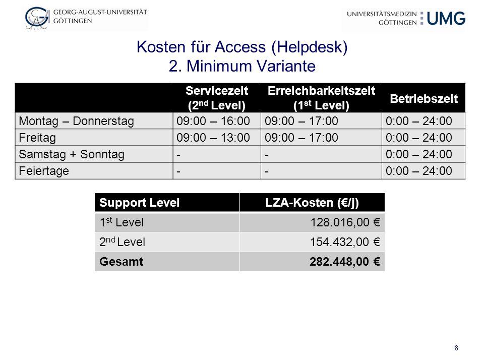 Kosten für Access (Helpdesk) 2. Minimum Variante Support LevelLZA-Kosten (€/j) 1 st Level 128.016,00 € 2 nd Level 154.432,00 € Gesamt 282.448,00 € 8 S