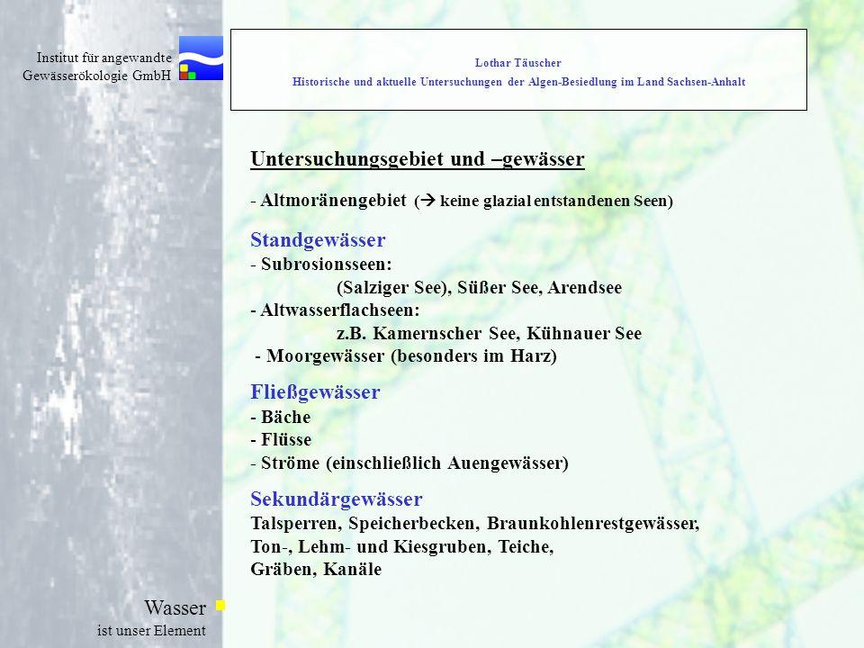 Institut für angewandte Gewässerökologie GmbH Wasser ist unser Element Lothar Täuscher Historische und aktuelle Untersuchungen der Algen-Besiedlung im Land Sachsen-Anhalt Untersuchungsgebiet und –gewässer - Altmoränengebiet (  keine glazial entstandenen Seen) Standgewässer - Subrosionsseen: (Salziger See), Süßer See, Arendsee - Altwasserflachseen: z.B.