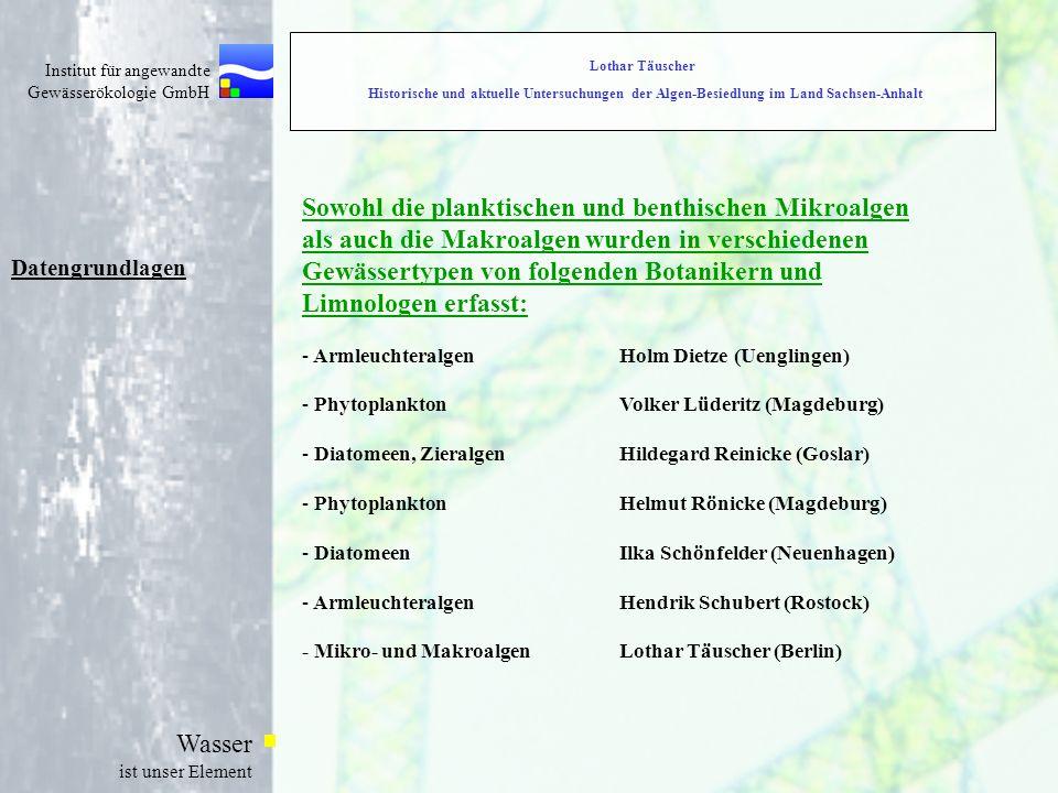 Institut für angewandte Gewässerökologie GmbH Wasser ist unser Element Lothar Täuscher Historische und aktuelle Untersuchungen der Algen-Besiedlung im Land Sachsen-Anhalt Datengrundlagen Sowohl die planktischen und benthischen Mikroalgen als auch die Makroalgen wurden in verschiedenen Gewässertypen von folgenden Botanikern und Limnologen erfasst: - ArmleuchteralgenHolm Dietze (Uenglingen) - PhytoplanktonVolker Lüderitz (Magdeburg) - Diatomeen, ZieralgenHildegard Reinicke (Goslar) - PhytoplanktonHelmut Rönicke (Magdeburg) - DiatomeenIlka Schönfelder (Neuenhagen) - ArmleuchteralgenHendrik Schubert (Rostock) - Mikro- und MakroalgenLothar Täuscher (Berlin)