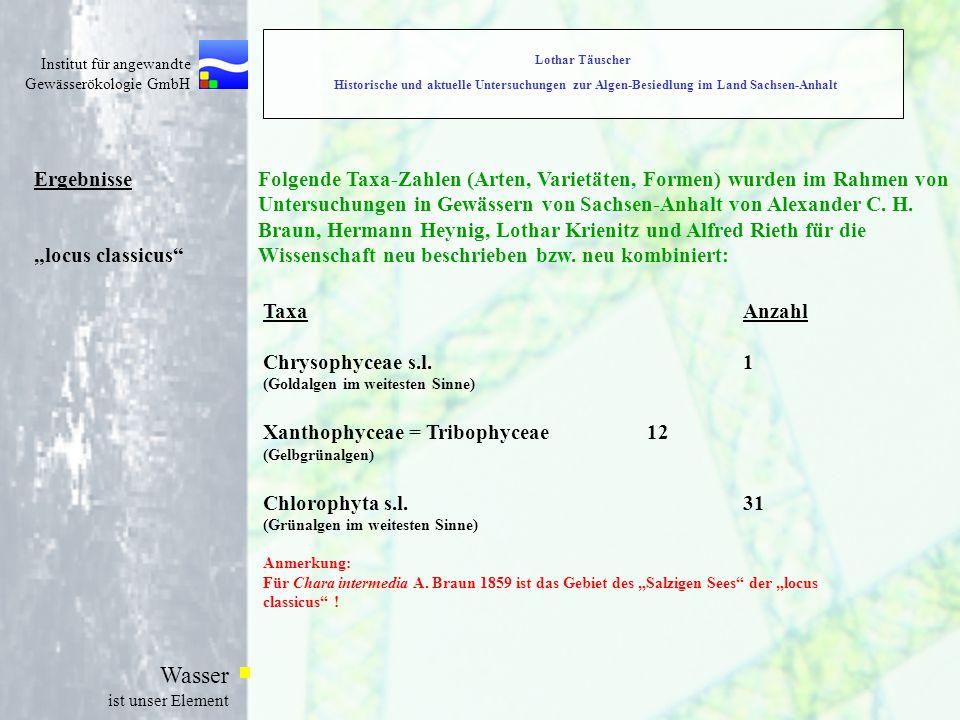 """Institut für angewandte Gewässerökologie GmbH Wasser ist unser Element Ergebnisse """"locus classicus Folgende Taxa-Zahlen (Arten, Varietäten, Formen) wurden im Rahmen von Untersuchungen in Gewässern von Sachsen-Anhalt von Alexander C."""