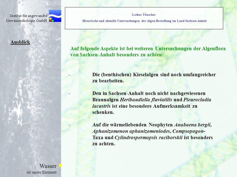Institut für angewandte Gewässerökologie GmbH Wasser ist unser Element Ausblick Auf folgende Aspekte ist bei weiteren Untersuchungen der Algenflora von Sachsen-Anhalt besonders zu achten: -Die (benthischen) Kieselalgen sind noch umfangreicher zu bearbeiten.