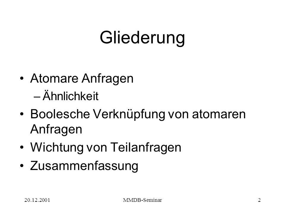 20.12.2001MMDB-Seminar2 Gliederung Atomare Anfragen –Ähnlichkeit Boolesche Verknüpfung von atomaren Anfragen Wichtung von Teilanfragen Zusammenfassung