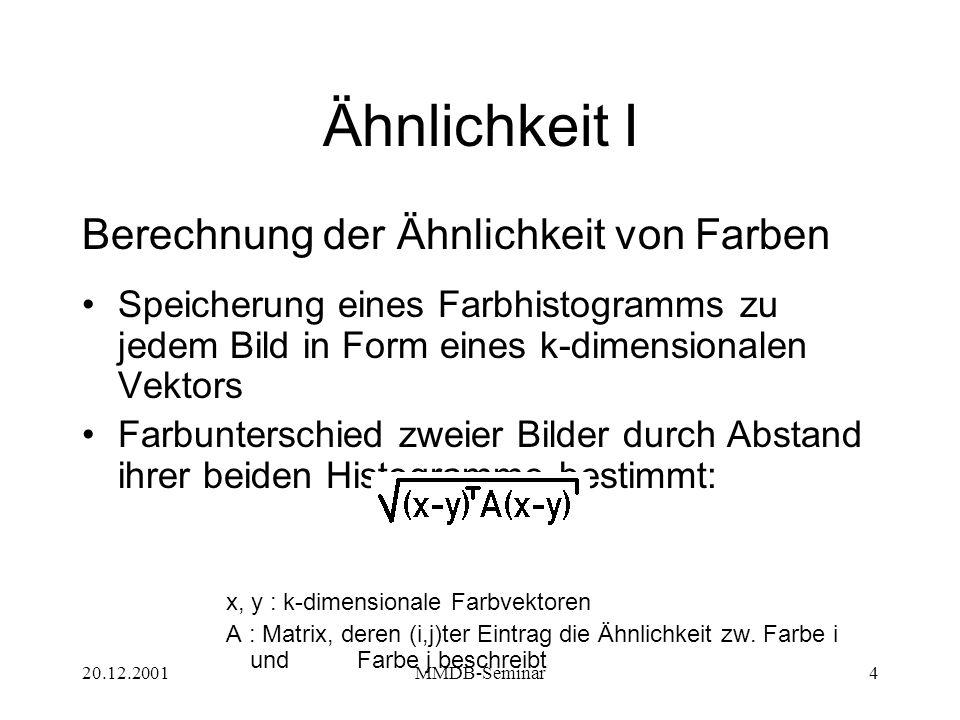 20.12.2001MMDB-Seminar5 Ähnlichkeit II Methoden zur Definition der Ähnlichkeit von Formen –turning angles –radiusbasierte Gestaltssignatur