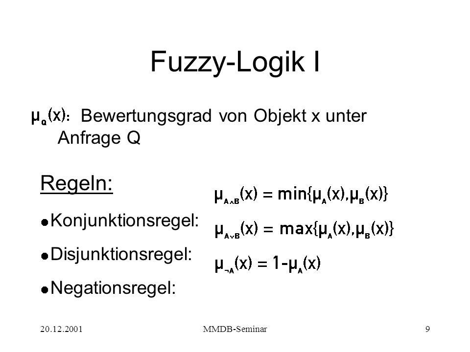 20.12.2001MMDB-Seminar9 Fuzzy-Logik I Bewertungsgrad von Objekt x unter Anfrage Q Regeln:  Konjunktionsregel:  Disjunktionsregel:  Negationsregel: