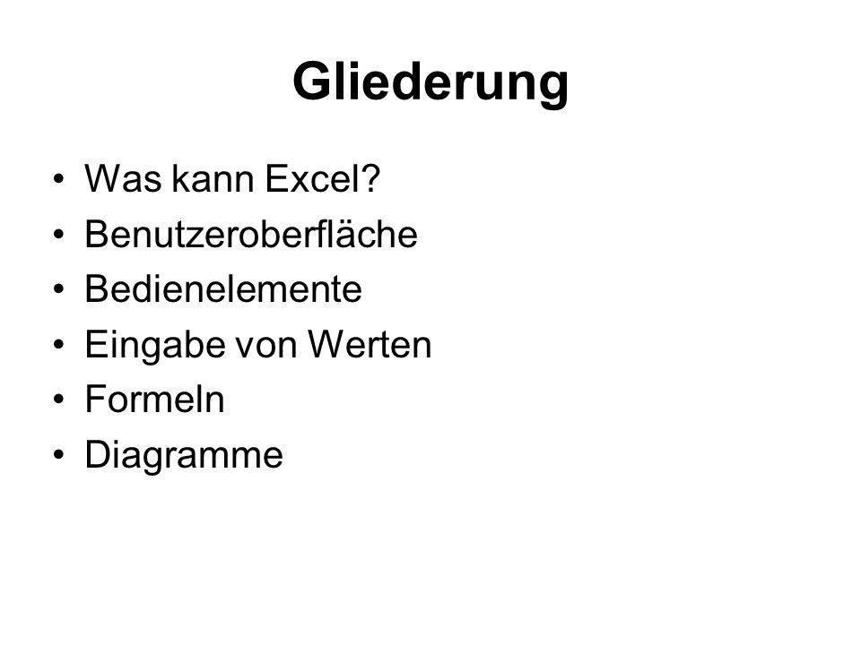 Gliederung Was kann Excel? Benutzeroberfläche Bedienelemente Eingabe von Werten Formeln Diagramme