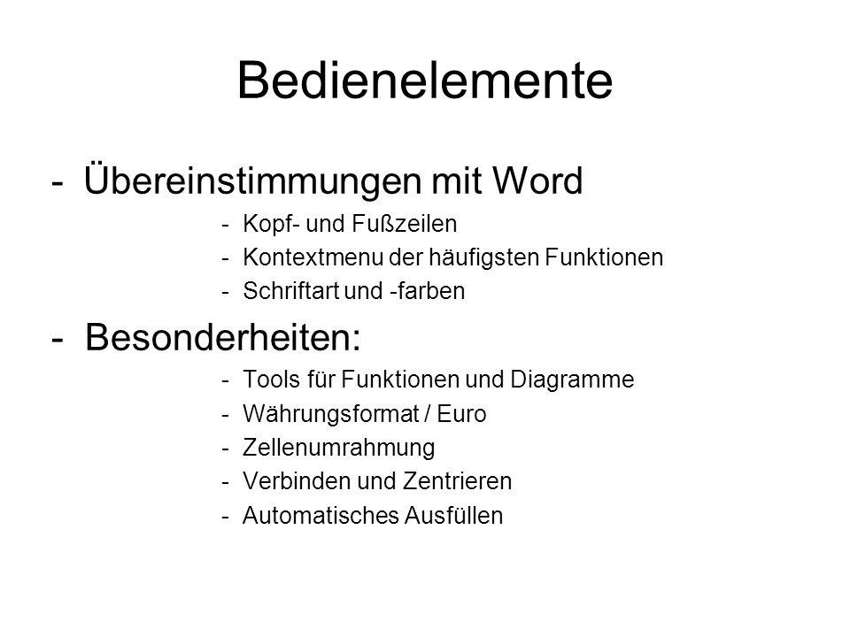 Bedienelemente -Übereinstimmungen mit Word -Kopf- und Fußzeilen -Kontextmenu der häufigsten Funktionen -Schriftart und -farben - Besonderheiten: -Tools für Funktionen und Diagramme -Währungsformat / Euro -Zellenumrahmung -Verbinden und Zentrieren -Automatisches Ausfüllen