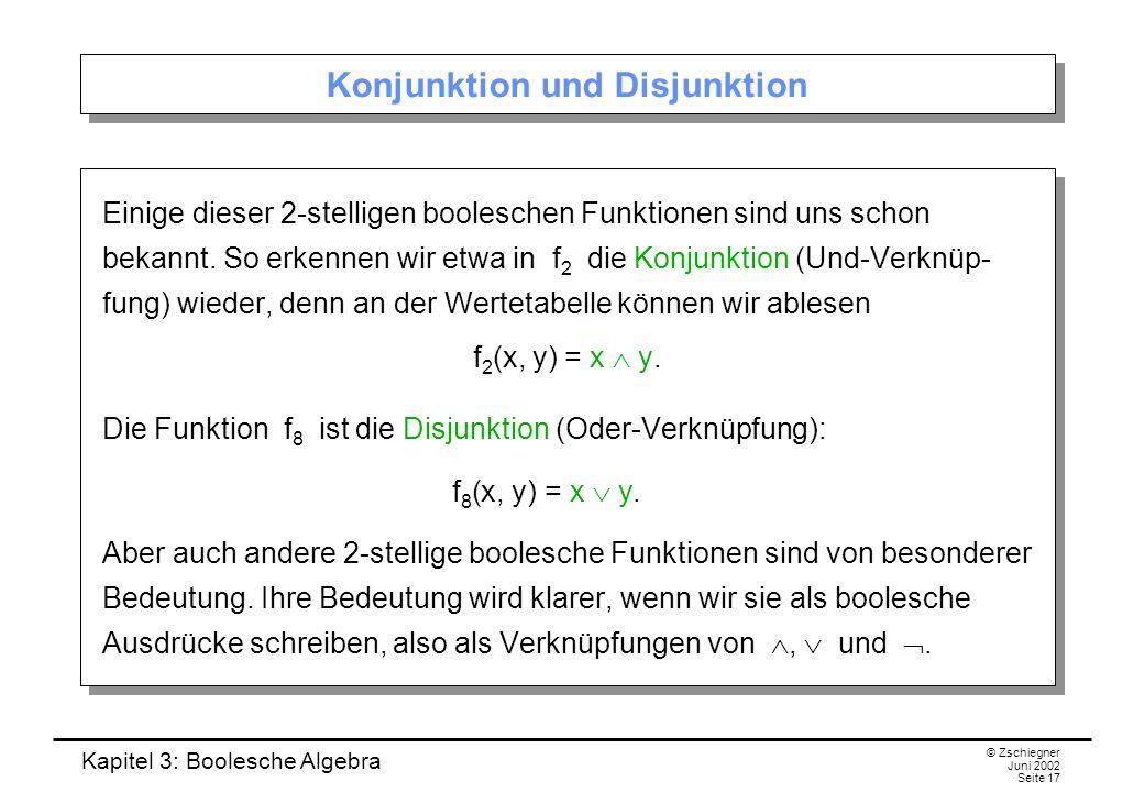 Kapitel 3: Boolesche Algebra © Zschiegner Juni 2002 Seite 17 Konjunktion und Disjunktion Einige dieser 2-stelligen booleschen Funktionen sind uns schon bekannt.