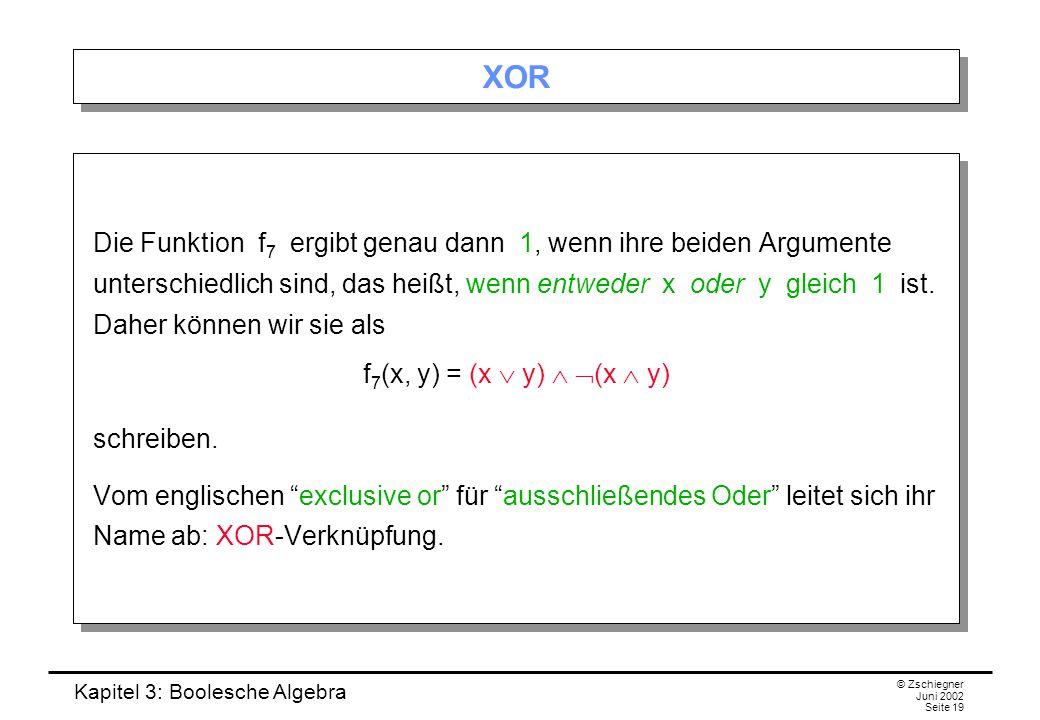 Kapitel 3: Boolesche Algebra © Zschiegner Juni 2002 Seite 19 XOR Die Funktion f 7 ergibt genau dann 1, wenn ihre beiden Argumente unterschiedlich sind, das heißt, wenn entweder x oder y gleich 1 ist.