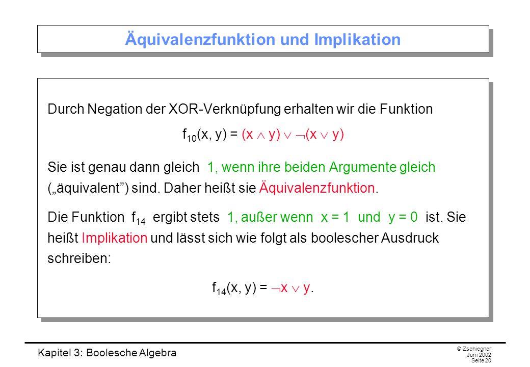 """Kapitel 3: Boolesche Algebra © Zschiegner Juni 2002 Seite 20 Äquivalenzfunktion und Implikation Durch Negation der XOR-Verknüpfung erhalten wir die Funktion f 10 (x, y) = (x  y)   (x  y) Sie ist genau dann gleich 1, wenn ihre beiden Argumente gleich (""""äquivalent ) sind."""