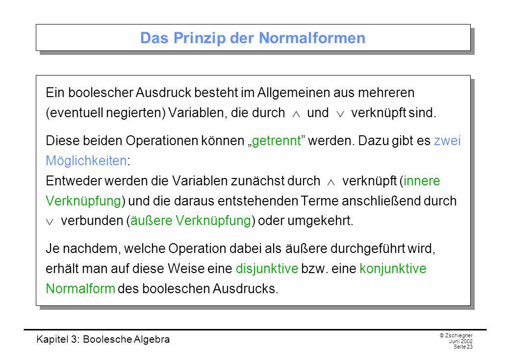 Kapitel 3: Boolesche Algebra © Zschiegner Juni 2002 Seite 23 Das Prinzip der Normalformen Ein boolescher Ausdruck besteht im Allgemeinen aus mehreren (eventuell negierten) Variablen, die durch  und  verknüpft sind.