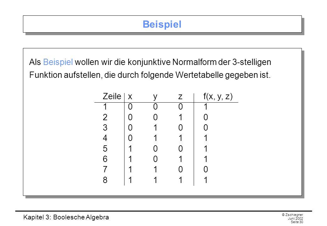 Kapitel 3: Boolesche Algebra © Zschiegner Juni 2002 Seite 30 Beispiel Als Beispiel wollen wir die konjunktive Normalform der 3-stelligen Funktion aufstellen, die durch folgende Wertetabelle gegeben ist.