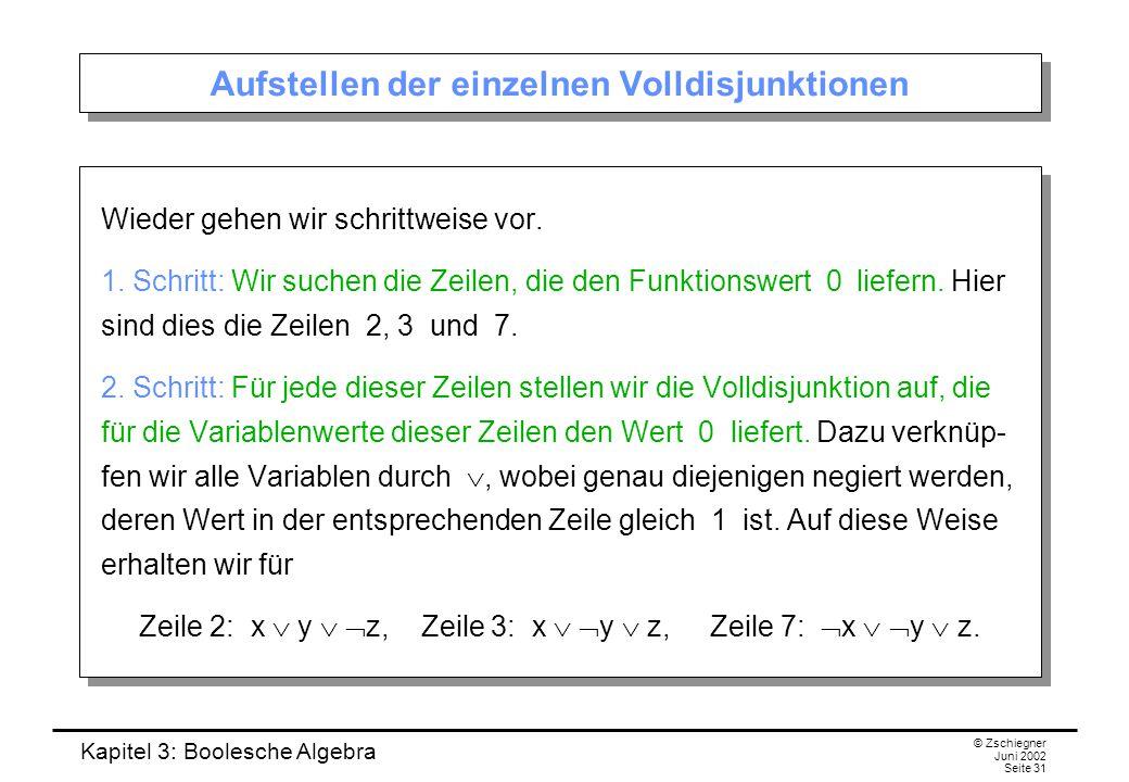 Kapitel 3: Boolesche Algebra © Zschiegner Juni 2002 Seite 31 Aufstellen der einzelnen Volldisjunktionen Wieder gehen wir schrittweise vor. 1. Schritt: