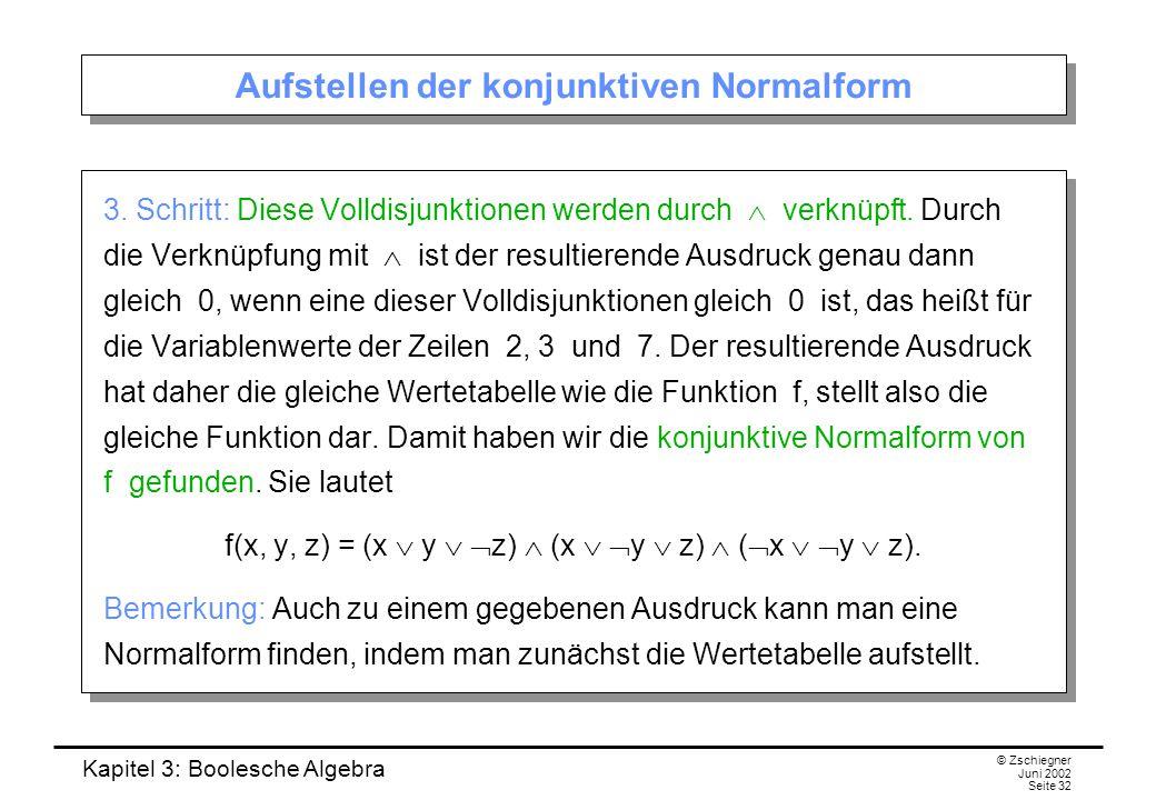 Kapitel 3: Boolesche Algebra © Zschiegner Juni 2002 Seite 32 Aufstellen der konjunktiven Normalform 3. Schritt: Diese Volldisjunktionen werden durch 