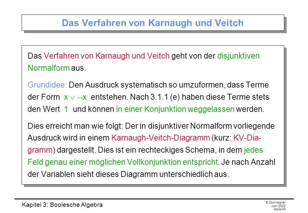 Kapitel 3: Boolesche Algebra © Zschiegner Juni 2002 Seite 34 Das Verfahren von Karnaugh und Veitch Das Verfahren von Karnaugh und Veitch geht von der disjunktiven Normalform aus.