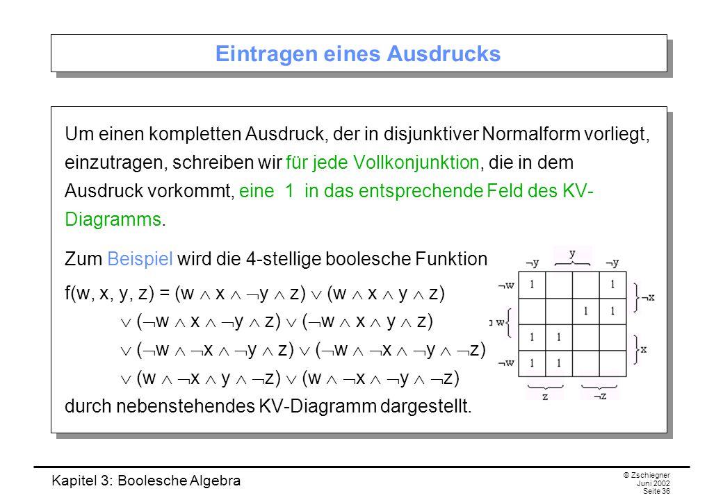 Kapitel 3: Boolesche Algebra © Zschiegner Juni 2002 Seite 36 Eintragen eines Ausdrucks Um einen kompletten Ausdruck, der in disjunktiver Normalform vorliegt, einzutragen, schreiben wir für jede Vollkonjunktion, die in dem Ausdruck vorkommt, eine 1 in das entsprechende Feld des KV- Diagramms.