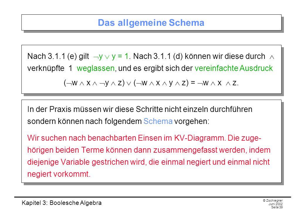 Kapitel 3: Boolesche Algebra © Zschiegner Juni 2002 Seite 39 Das allgemeine Schema Nach 3.1.1 (e) gilt  y  y = 1. Nach 3.1.1 (d) können wir diese du