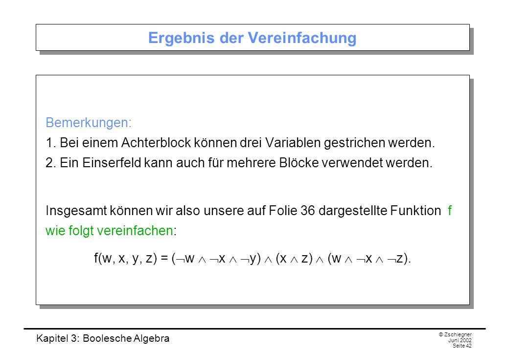 Kapitel 3: Boolesche Algebra © Zschiegner Juni 2002 Seite 42 Ergebnis der Vereinfachung Bemerkungen: 1. Bei einem Achterblock können drei Variablen ge