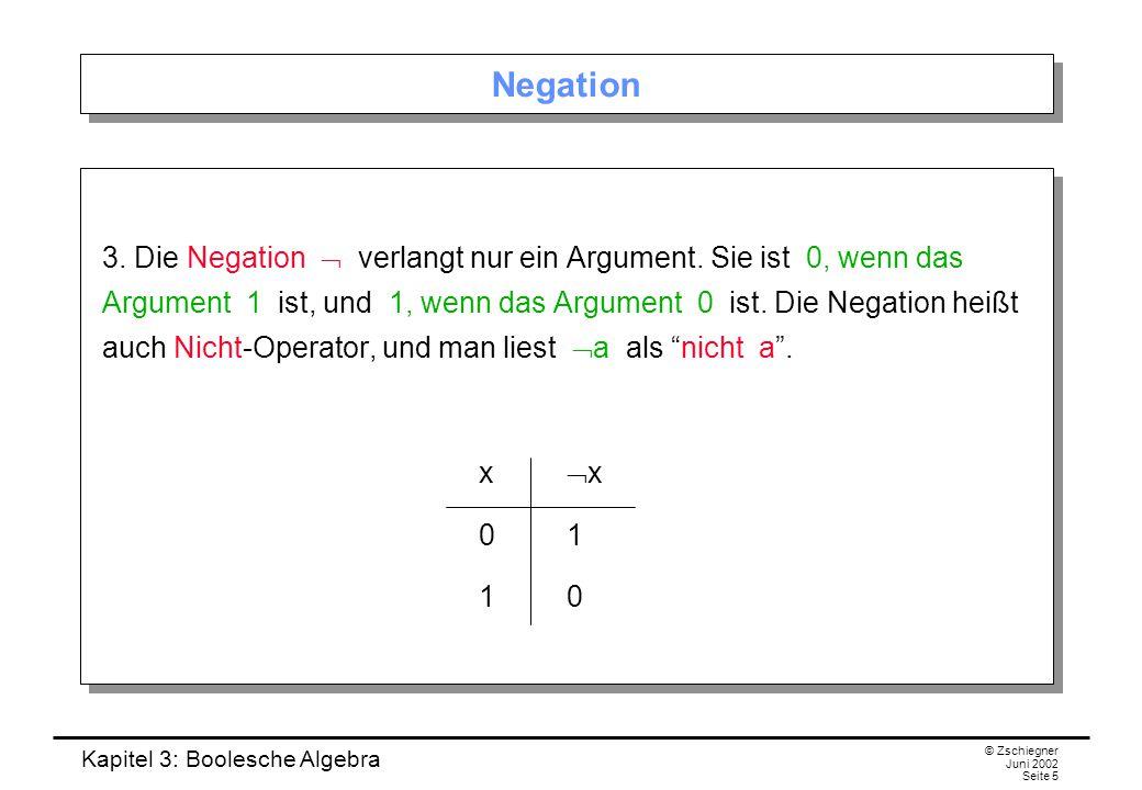 Kapitel 3: Boolesche Algebra © Zschiegner Juni 2002 Seite 5 Negation 3.