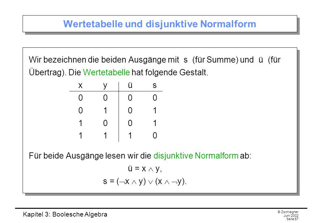 Kapitel 3: Boolesche Algebra © Zschiegner Juni 2002 Seite 57 Wertetabelle und disjunktive Normalform Wir bezeichnen die beiden Ausgänge mit s (für Summe) und ü (für Übertrag).