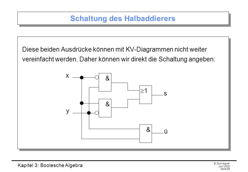 Kapitel 3: Boolesche Algebra © Zschiegner Juni 2002 Seite 58 Schaltung des Halbaddierers Diese beiden Ausdrücke können mit KV-Diagrammen nicht weiter