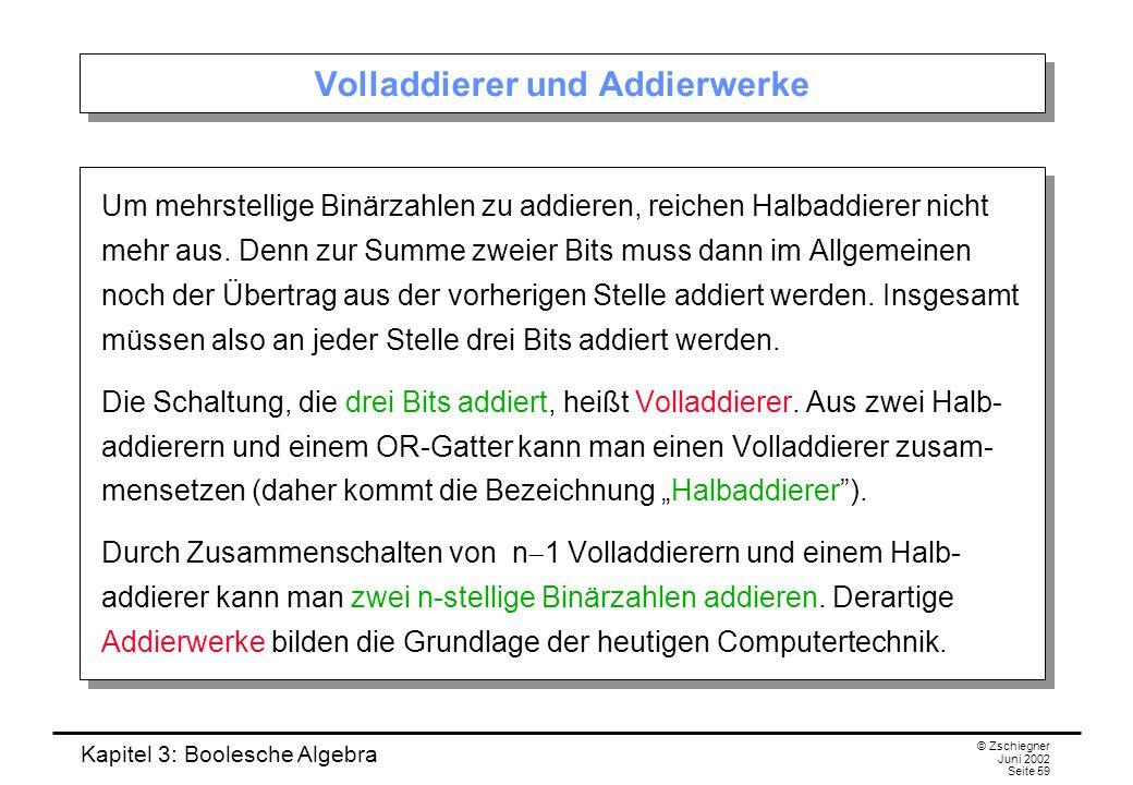 Kapitel 3: Boolesche Algebra © Zschiegner Juni 2002 Seite 59 Volladdierer und Addierwerke Um mehrstellige Binärzahlen zu addieren, reichen Halbaddiere