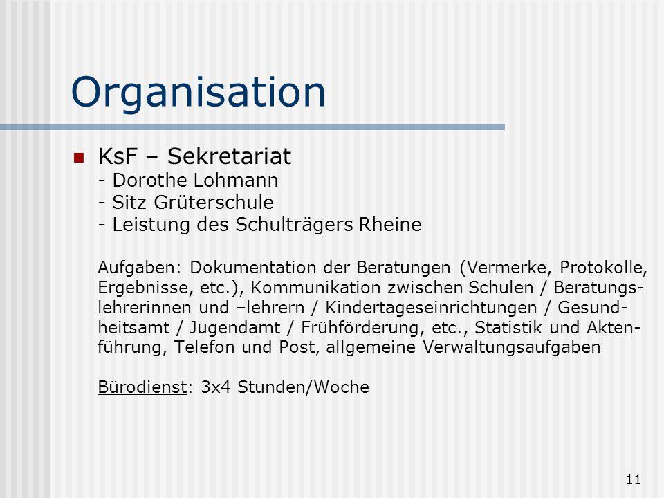 11 Organisation KsF – Sekretariat - Dorothe Lohmann - Sitz Grüterschule - Leistung des Schulträgers Rheine Aufgaben: Dokumentation der Beratungen (Ver