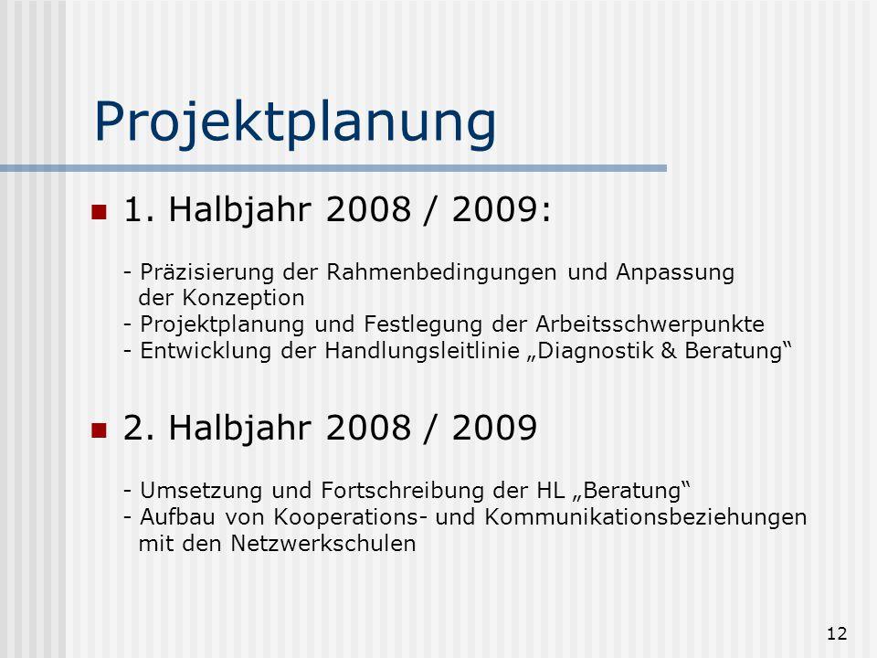 12 Projektplanung 1. Halbjahr 2008 / 2009: - Präzisierung der Rahmenbedingungen und Anpassung der Konzeption - Projektplanung und Festlegung der Arbei