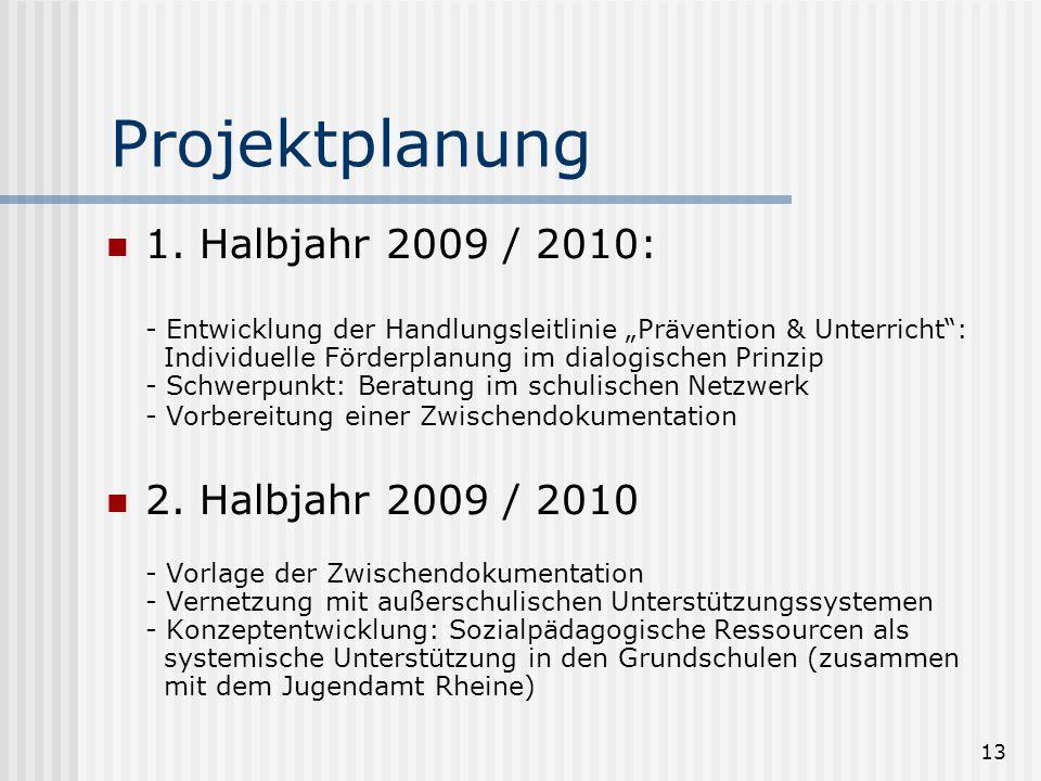 """13 Projektplanung 1. Halbjahr 2009 / 2010: - Entwicklung der Handlungsleitlinie """"Prävention & Unterricht"""": Individuelle Förderplanung im dialogischen"""