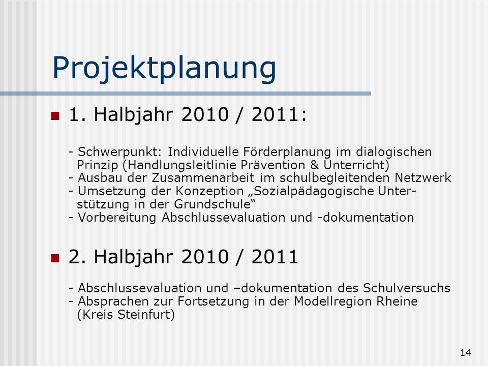 14 Projektplanung 1. Halbjahr 2010 / 2011: - Schwerpunkt: Individuelle Förderplanung im dialogischen Prinzip (Handlungsleitlinie Prävention & Unterric