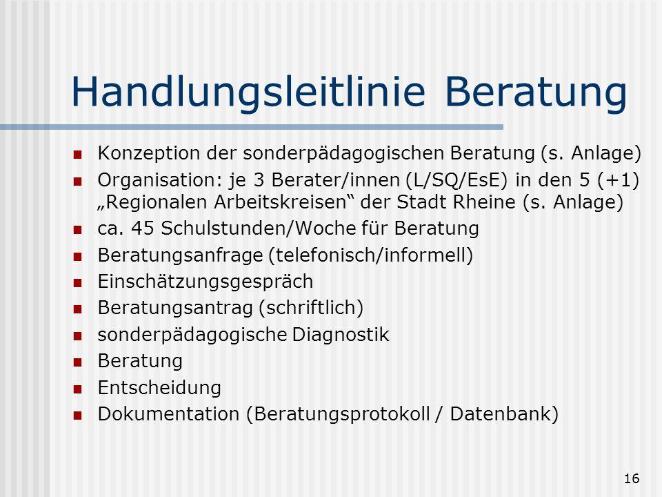 """16 Handlungsleitlinie Beratung Konzeption der sonderpädagogischen Beratung (s. Anlage) Organisation: je 3 Berater/innen (L/SQ/EsE) in den 5 (+1) """"Regi"""