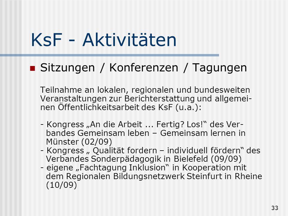 33 KsF - Aktivitäten Sitzungen / Konferenzen / Tagungen Teilnahme an lokalen, regionalen und bundesweiten Veranstaltungen zur Berichterstattung und al