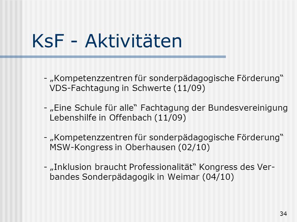 """34 KsF - Aktivitäten - """"Kompetenzzentren für sonderpädagogische Förderung"""" VDS-Fachtagung in Schwerte (11/09) - """"Eine Schule für alle"""" Fachtagung der"""