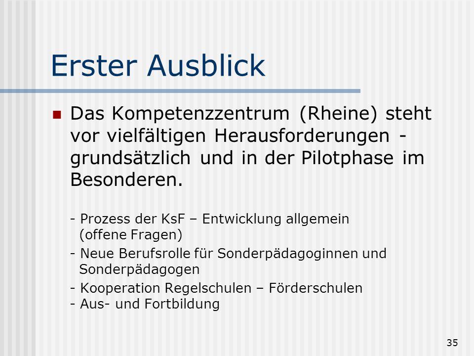35 Erster Ausblick Das Kompetenzzentrum (Rheine) steht vor vielfältigen Herausforderungen - grundsätzlich und in der Pilotphase im Besonderen. - Proze
