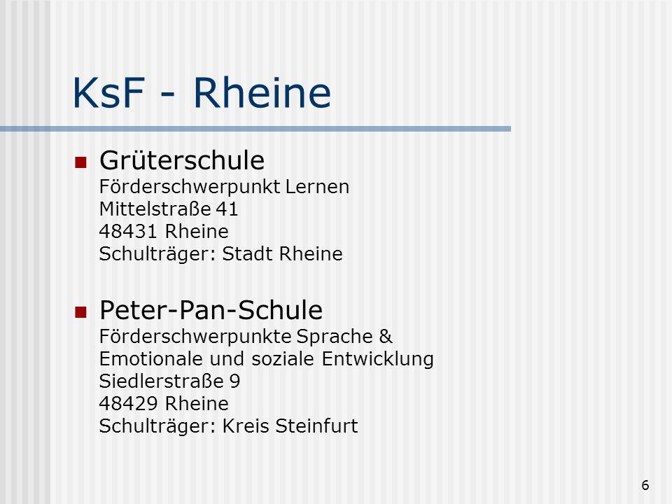 6 KsF - Rheine Grüterschule Förderschwerpunkt Lernen Mittelstraße 41 48431 Rheine Schulträger: Stadt Rheine Peter-Pan-Schule Förderschwerpunkte Sprach