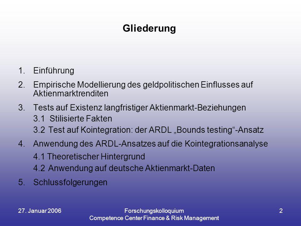 27. Januar 2006Forschungskolloquium Competence Center Finance & Risk Management 2 Gliederung 1.Einführung 2.Empirische Modellierung des geldpolitische