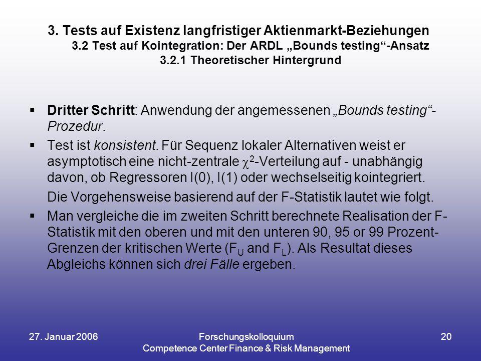 """27. Januar 2006Forschungskolloquium Competence Center Finance & Risk Management 20  Dritter Schritt: Anwendung der angemessenen """"Bounds testing""""- Pro"""
