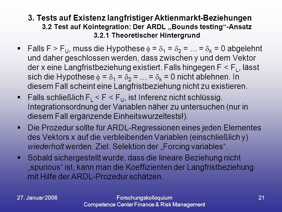 27. Januar 2006Forschungskolloquium Competence Center Finance & Risk Management 21  Falls F > F U, muss die Hypothese  =  1 =  2 =... =  k = 0 ab