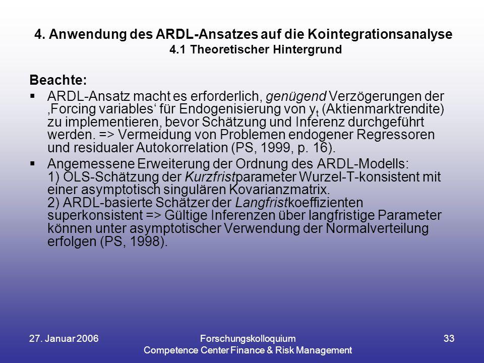 27. Januar 2006Forschungskolloquium Competence Center Finance & Risk Management 33 Beachte:  ARDL-Ansatz macht es erforderlich, genügend Verzögerunge