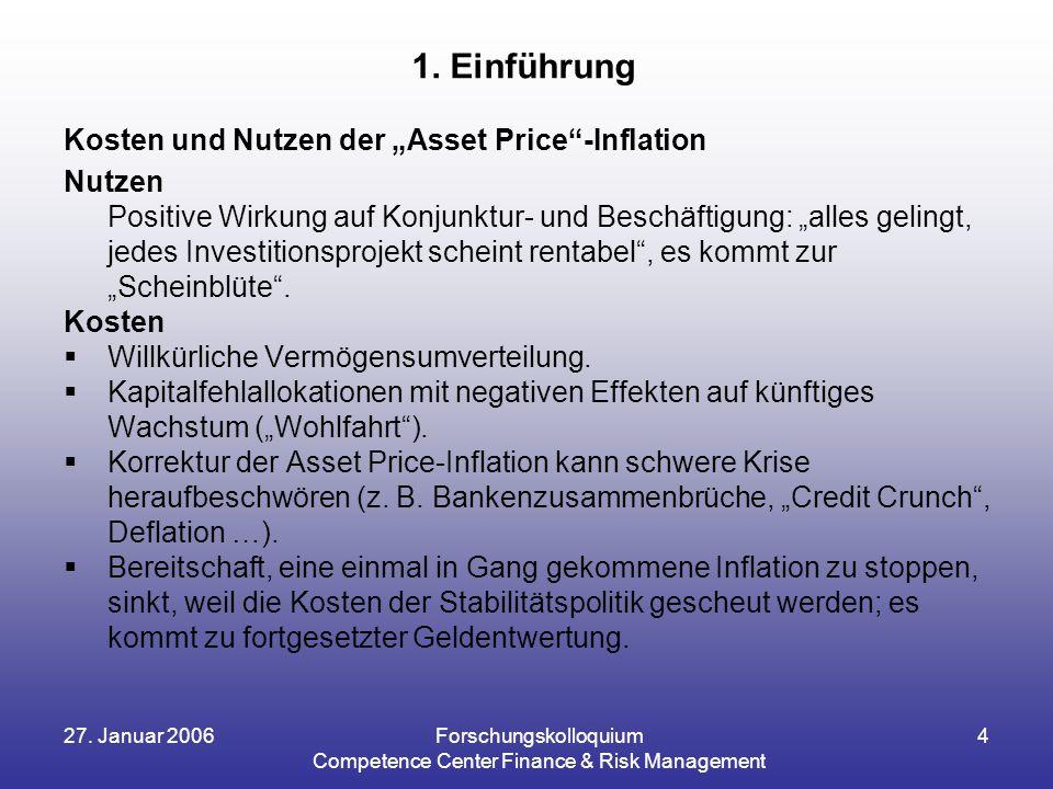 """27. Januar 2006Forschungskolloquium Competence Center Finance & Risk Management 4 Kosten und Nutzen der """"Asset Price""""-Inflation Nutzen Positive Wirkun"""
