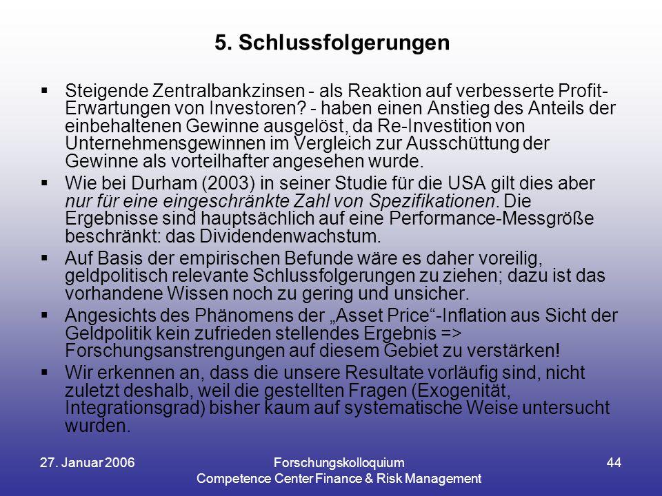 27. Januar 2006Forschungskolloquium Competence Center Finance & Risk Management 44  Steigende Zentralbankzinsen - als Reaktion auf verbesserte Profit