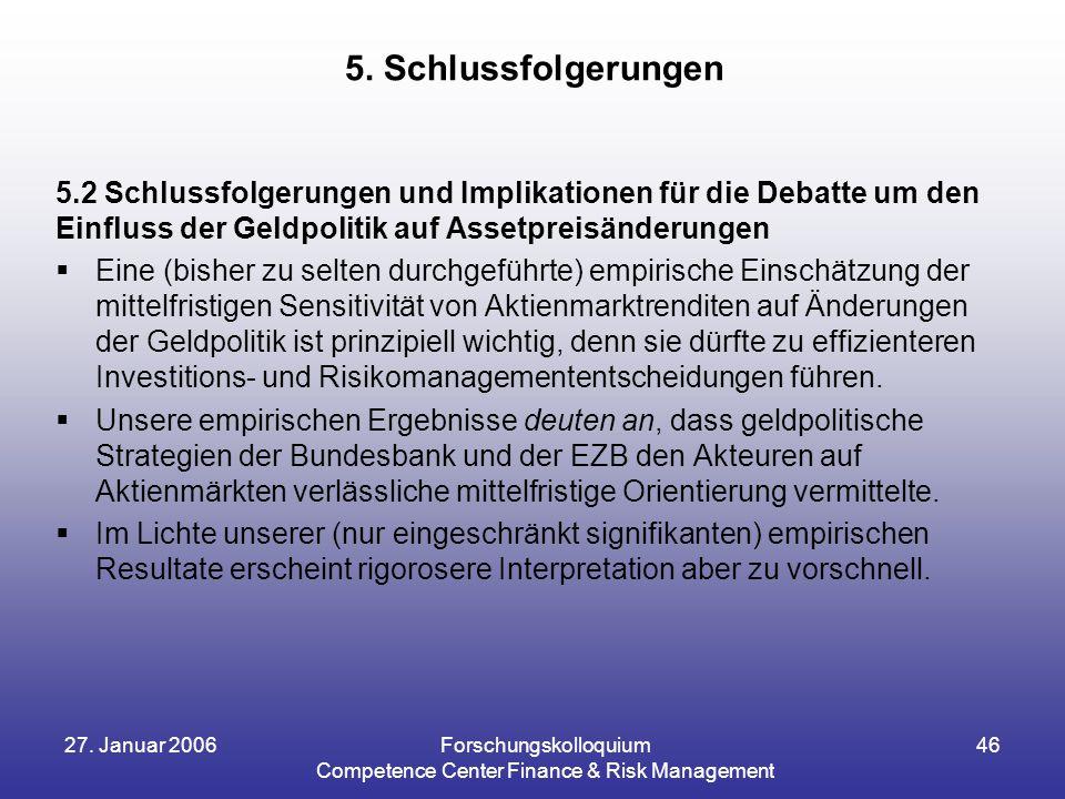 27. Januar 2006Forschungskolloquium Competence Center Finance & Risk Management 46 5.2 Schlussfolgerungen und Implikationen für die Debatte um den Ein